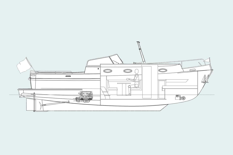 Langenberg Cabin cruiser LCC 36 van Overwijk Yachting. tekening zijaanzicht