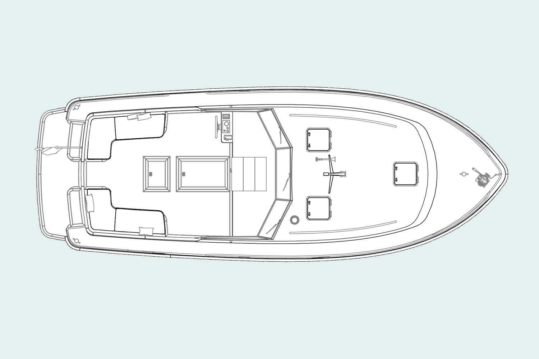 Langenberg Cabin cruiser LCC 36 van Overwijk Yachting. tekening bovenaanzicht. Lay-out indeling
